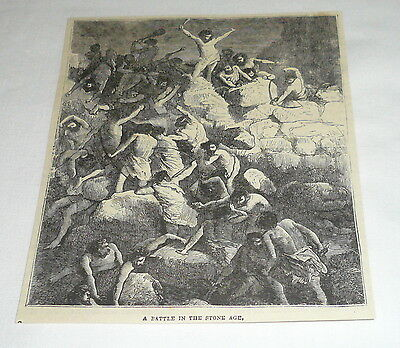 1878 magazine engraving ~ CAVEMEN HAVING A STONE AGE BATTLE](Stone Age Cavemen)