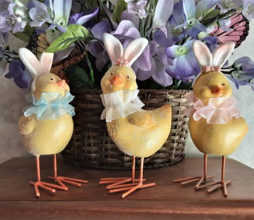 Easter Chicks Bunny Ears Shelf Sitter Table Figurines Set of 3