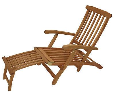 Deckchair Liegestuhl Liege Gartenmöbel Gartenliege Steamer MAINE Eukalyptus Holz