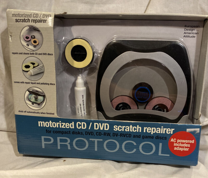 Protocol Motorized CD DVD GAME Disk Scratch Repair Kit * Stop Skipping *NEW