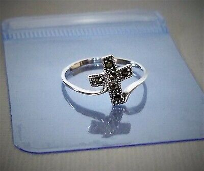 PURE 925 Sterling Silver Dainty Cross Ring Decorated w/ Marcasite Sz 6 $23 VALUE 925 Sterling Silver Value