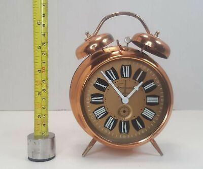 VINTAGE TIMEMASTER RETRO COPPER ANALOGUE MECHANICAL ALARM CLOCK WITH TWO BELLS