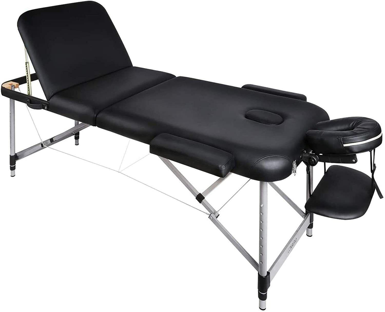 Naipo Deluxe 3 Zonen mobile Massageliege  klappbar höhenverstell. Aluminium Füße