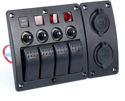 Waterproof 4 Gang Rocker Switch Panel Circuit Breaker For Marine Boat Yacht Us