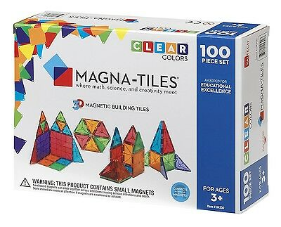 NEW Magna-Tiles Clear Colors 100 Pc 3D Set Magnetic Building Toy Math Science 3+