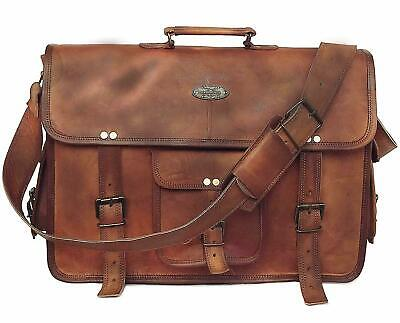 Real best choice Brown Leather Briefcase Messenger Bag Satchel Tab/iPad