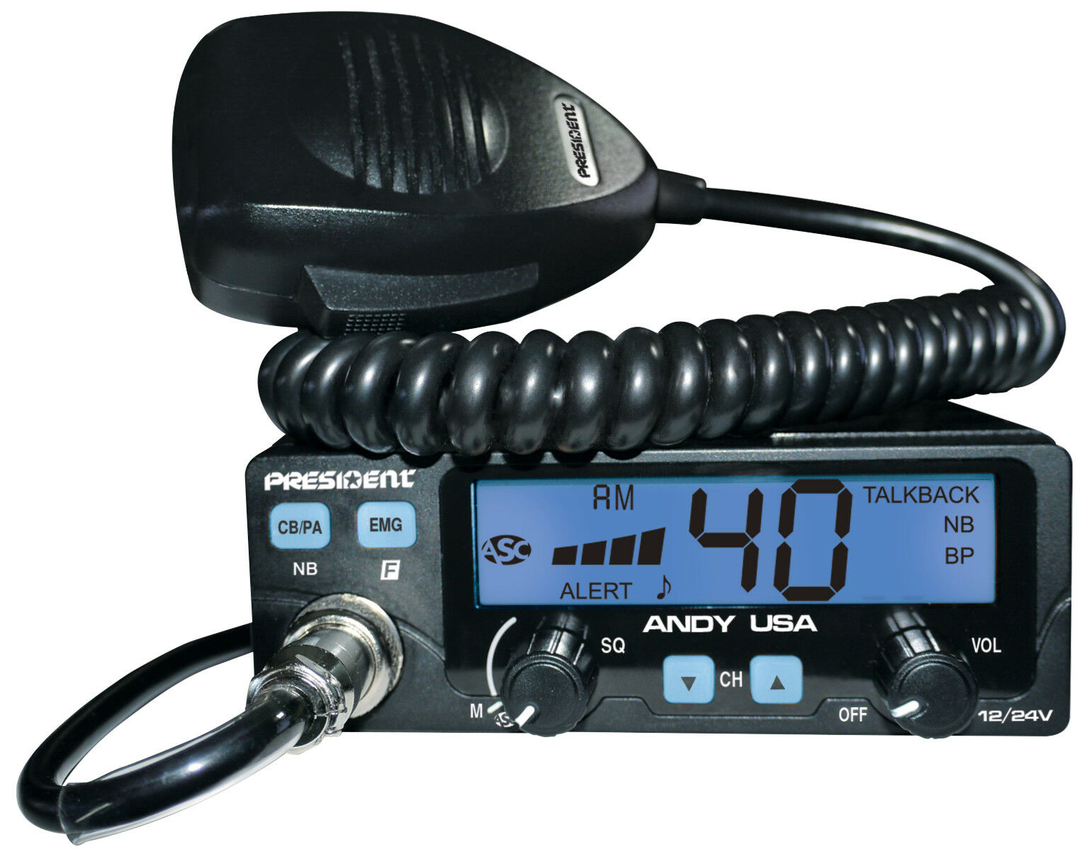 как выглядит Си-Би радиостанция President Andy 12/24v CB Radio w/7 Color LCD Display Small Form Factor Compact фото