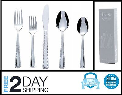 20 Piece Silver ware Flatware Cutlery Set Stainless Steel Service 4 Person kit