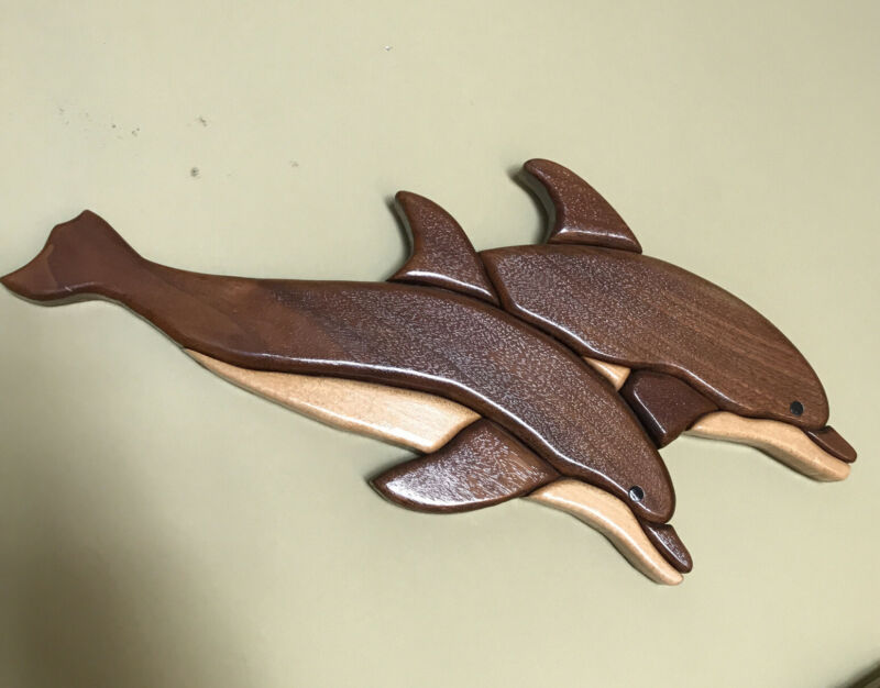 Handmade Wood Intarsia Sculpture Dolphin Pair Wall Art Beach Decor