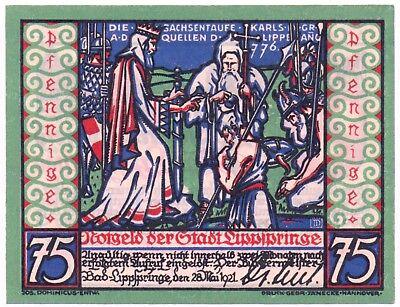 Notgeld Gutschein der Stadt Bad - Lippspringe 75 Pfennig, Die Sachsentaufe