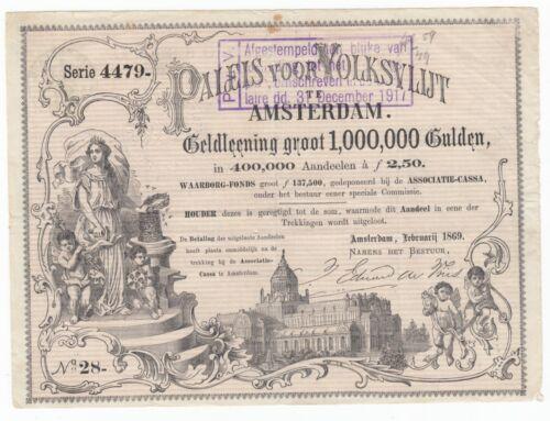 1869 Paleis voor Volksvlijt Stock Bond Certificate Amsterdam Netherlands Palace