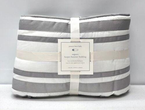 NEW Pottery Barn KIDS Harper Bassinet Bumper & Skirt Baby Bedding Set~Gray