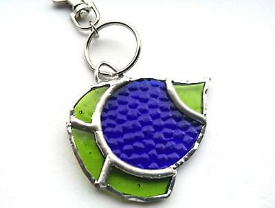Tropical Fish Stained Glass (Handmade Stained Glass Blue / Green Tropical Fish Keyring/chain - Unique Gift)