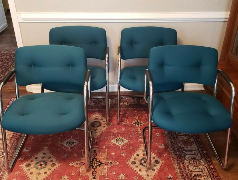 Mid Century Modern Chairs Chrome Steelcase Cantilever Teal  Will Ship