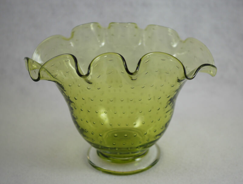 Hand Blown Glass Controlled Bubble Green Ruffle Footed Bischoff Vase Bowl