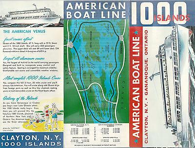 """1000 Islands Boat Tours Vintage Brochure American Boat Line """"American Venus"""""""