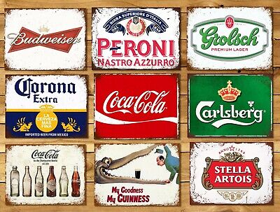 Metal signs plaques vintage retro style Beer bar Peroni mancave home wall decor