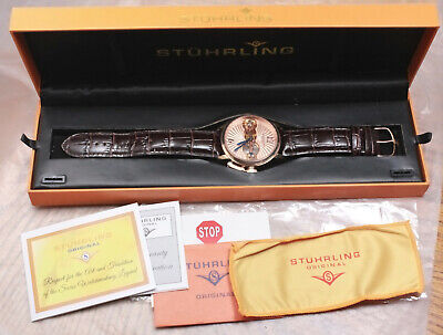 * Stuhrling Original *  Skeleton Mens 17 Jewel Wrist Watch with Box & Paperwork