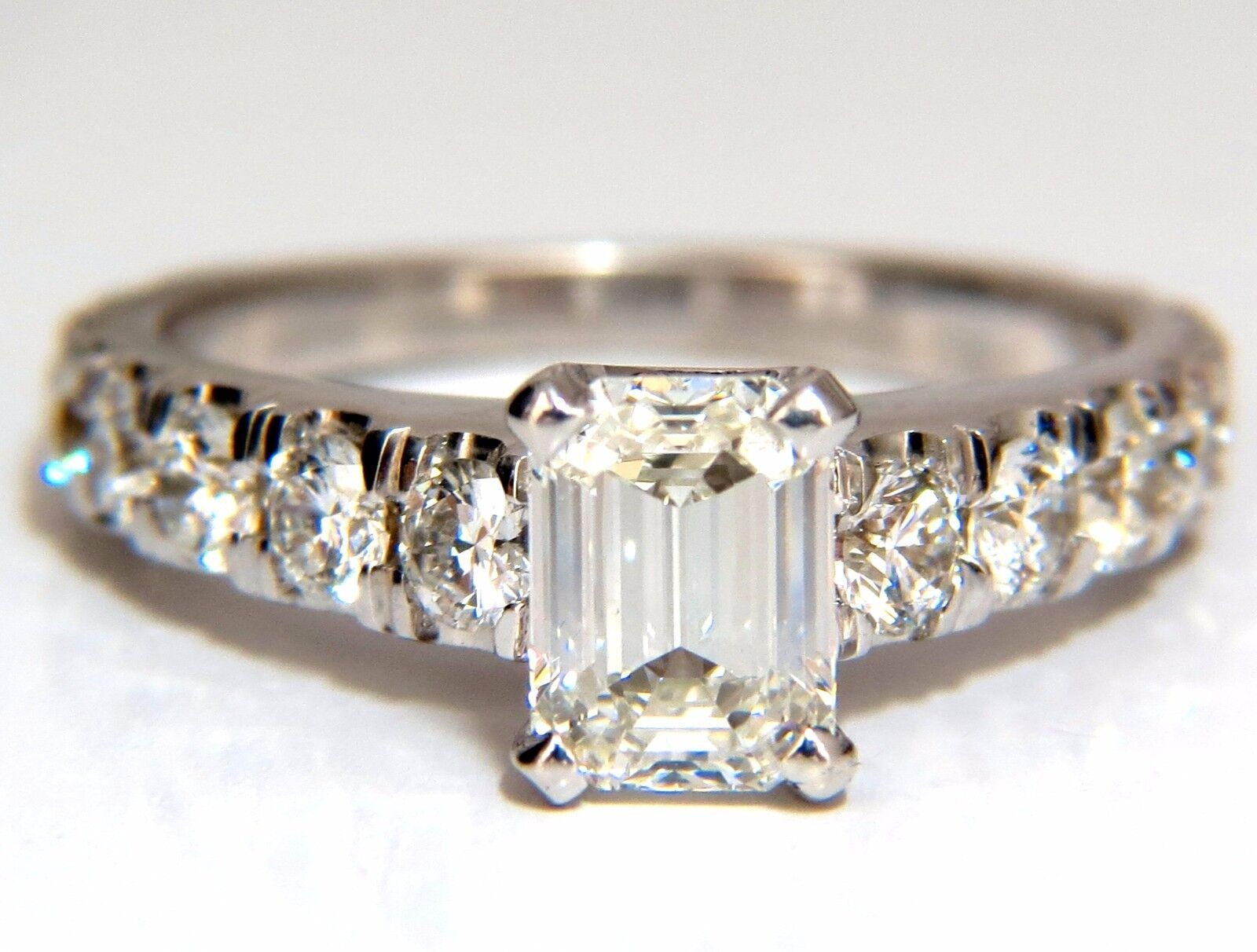 GIA Certified 1.08ct Emerald Cut diamond ring 1.20ct. 18kt Cathedral H/Vs1+