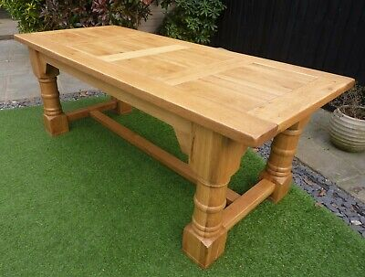IMPRESSIVE 2.1m SOLID OAK FARMHOUSE DINING TABLE. DELIVERY AVAILABLE