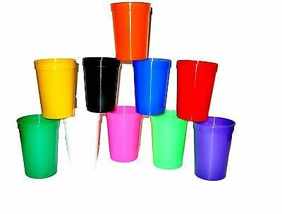 12- Multi Colors Small 12 Oz Plastic Drinking Cups, Glasses Mfg. USA Lead Free  ()