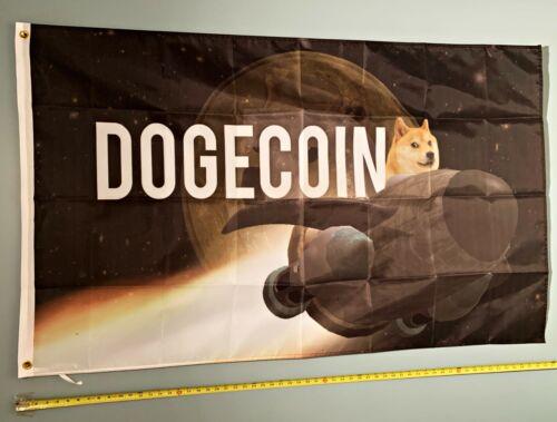 DOGECOIN FLAG *FREE SHIP USA SELLER! Bitcoin Dogecoin Spaceship Poster Sign 3x5