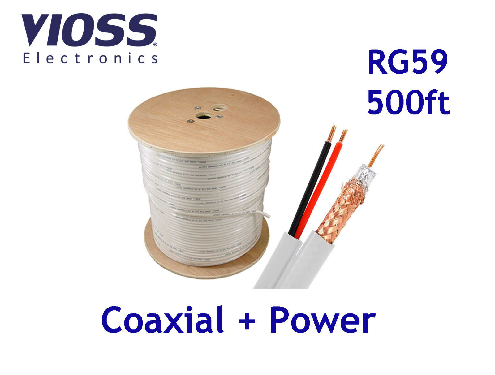 500ft Rg59 Siamese White Cable Coaxial + Dc Power 500 Ft ...