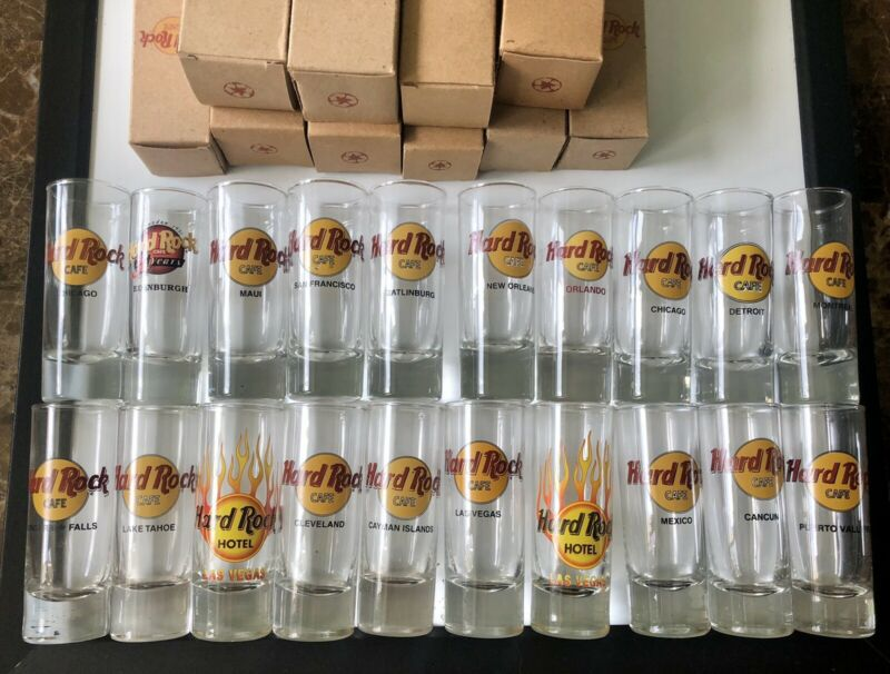 """Hard Rock Cafe Lot of 20 Shot Glasses 4"""" Various Cities."""