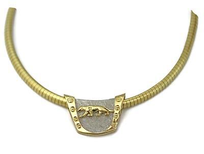 Estate 14k Two Tone Gold Panther Slide Pendant Omega Necklace LIQUIDATION!!