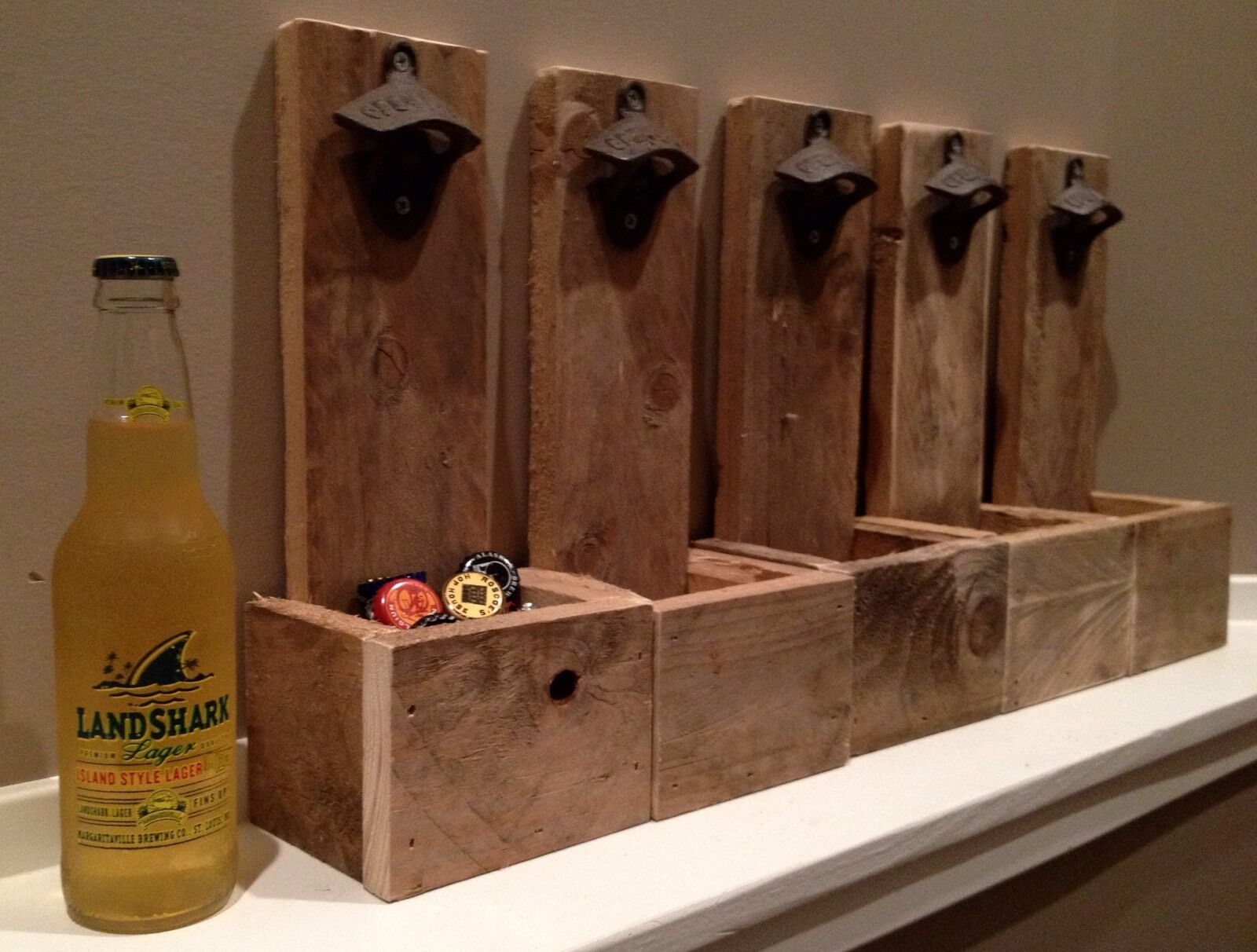 Wall Mounted Beer Bottle Opener with Cap Catcher - Groosmen Gift, Reclaimed Wood