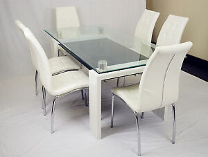Tempered glass table PU leather seat 7 Pieces Dinning Set Punchbowl Canterbury Area Preview