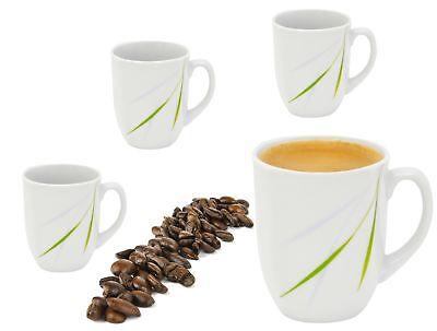 Van Well 4er Set Kaffeebecher 330ml Tasse Pott Becher Porzellan weiß 15 Dekore Weiße Becher