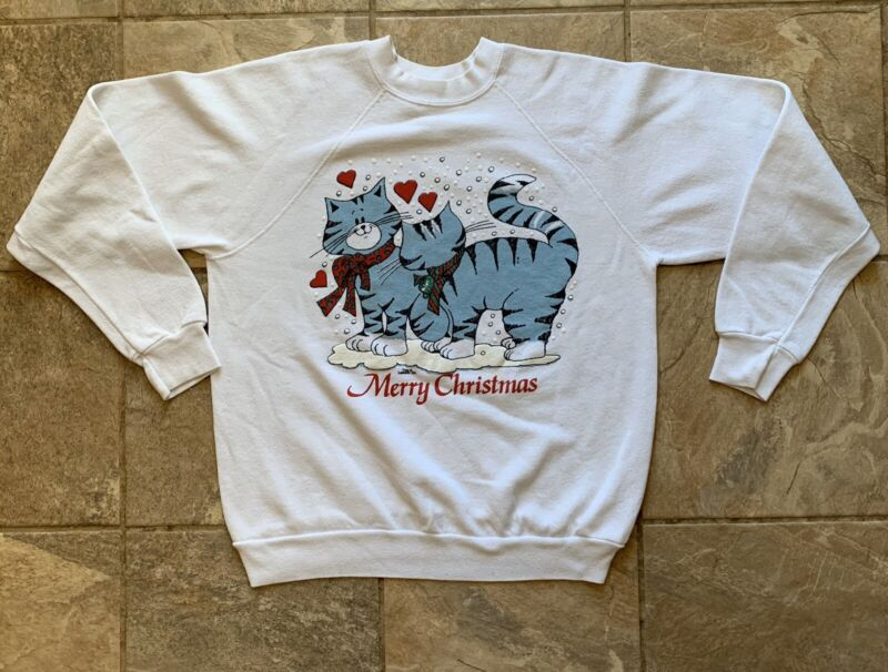 Merry Christmas Cats In Love Sweatshirt Ugly Sweater US Sweats White Vtg Large
