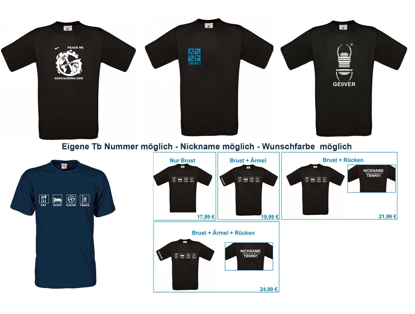 Geocaching T-Shirt eigene Tb Nr. Geocacher Bekleidung Personalisierbar Nickname