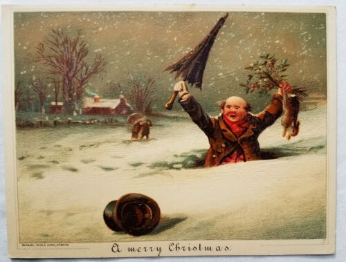 Antique Victorian Raphael TUCK Christmas Card MAN CATCHES RABBIT Falls in snow