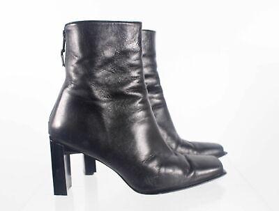 Stuart Weitzman Black Leather Women's Square Toe Zip Up Heel Ankle Boots Sz 7.5