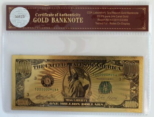 $1 Million Dollar Bill... 24K Gold 3D Overlay...Banknote..With COA