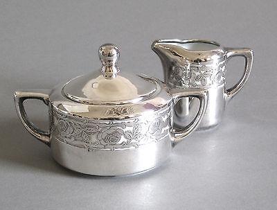 Milchkännchen + Zuckertopf Silver Overlay Art Deco Porzellan Silber Auflage