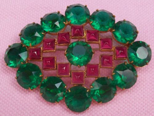 Vintage Antique Art Deco Gilt Brass Sugarloaf Ruby Emerald Crystal Glass Brooch