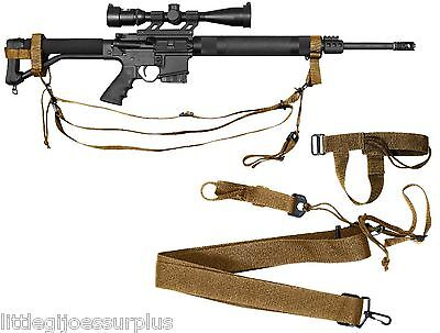 COYOTE BROWN Police & Military Tactical & Airsoft 3-point Rifle Sling 4077 3 Point Tactical Airsoft Rifle
