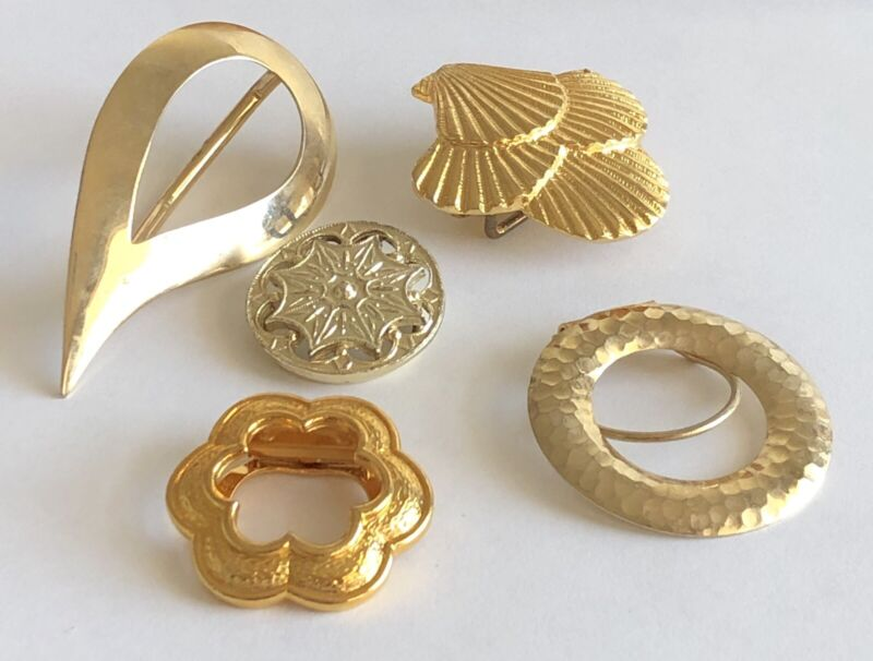 Lot of 5 Vintage Gold Tone Scarf Clips