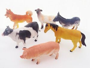 6 x BIG Farm Animals Plastic Figures Sheep Cow Horse Dog Pig Model Playset Toys