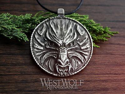 Silver WOLF Medallion Pendant / Talisman -- Slavic/Viking/Norse/Skyrim/Werewolf