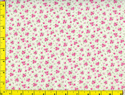 Hot Pink Flower Bouquets &  Flowers on White Quilting Fabric by Yard #780 ()