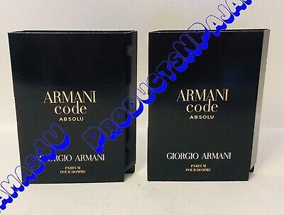 LOT of 2~Giorgio Armani ARMANI CODE ABSOLU Parfum Pour Homme .04oz/1.2ml SAMPLES