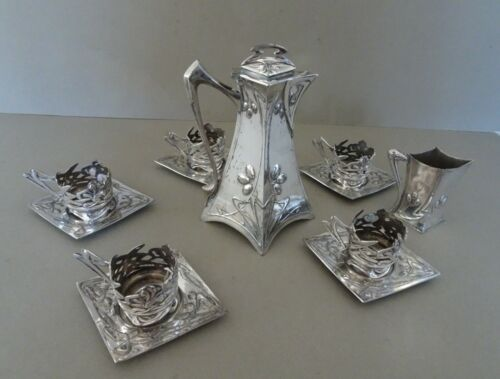 Art Nouveau silver plate on Pewter Coffee set. Circa 1900. Marked.