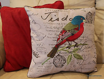 Sparrow Embroidered Pillow Cover Bird Accent Decorative Designer Home Colorful