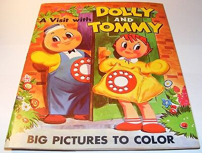 VTG 1960's Visit With Dolly & Tommy Coloring Book Southern Bell Telephone Pics