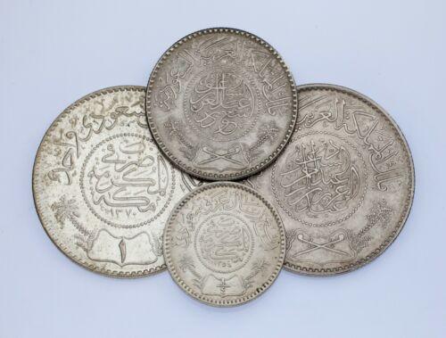 Lot of 4 Silver Saudi Arabia Coins 1935 - 1954 AU - UNC Condition