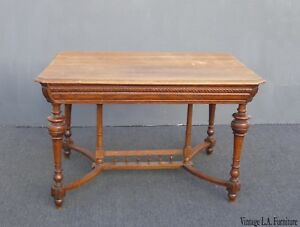 Antique Spanish Style Library Table Desk W Stretcher Mission